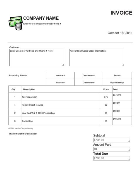 free accounting bookkeeping and payroll invoice templates