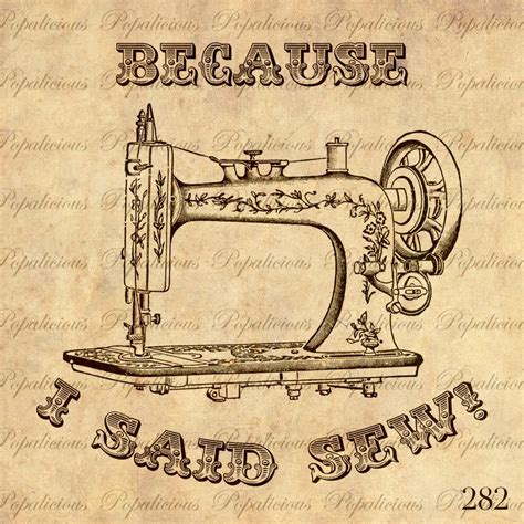 vintage illustration because i said sew antique sewing machine vintage