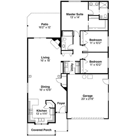 375 square feet traditional style house plan 3 beds 2 baths 1598 sq ft
