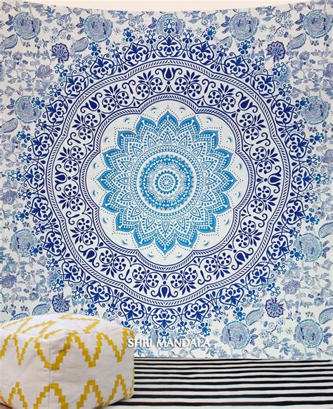 Light Blue Tapestry by Light Blue Green Floral Boho Tapestry Hippie Wall Tapestry