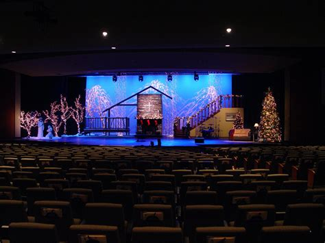 a christmas scene church stage design ideas
