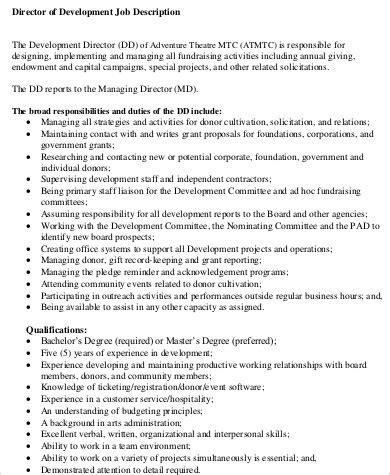 product design job description director of development job description sle 9