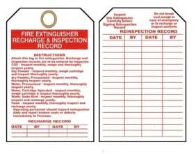 Extinguisher Inspection Tag Template by Extinguisher Tags I Recharge Inspection Record 25 Pk