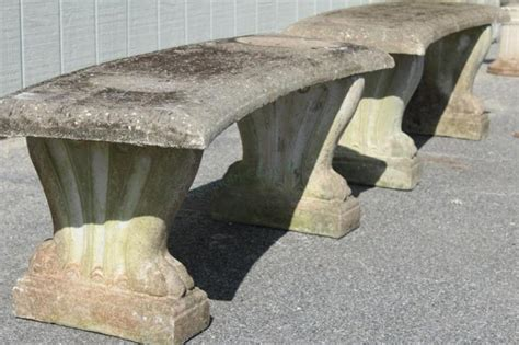 curved cement bench 2 vintage concrete curved garden benches paw feet