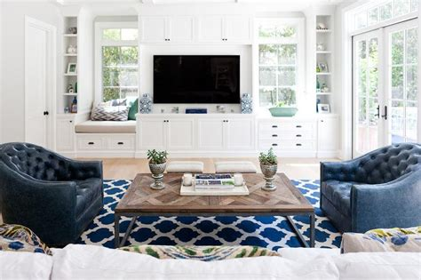 Beige Chevron Rug Living Room Built In Tv Cabinets Flanked By Built In