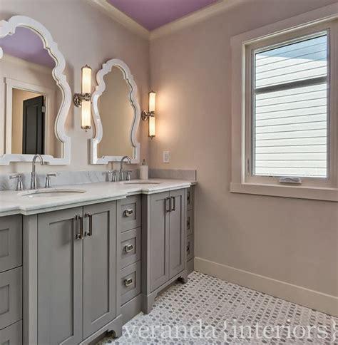 Purple Bathroom Vanity by Purple Ceiling Transitional Bathroom Veranda Interiors