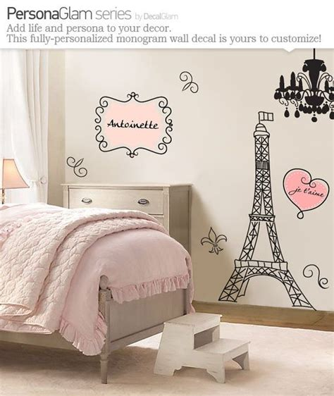paris shabby chic bedroom wall decal large vinyl art sticker paris france fleur de