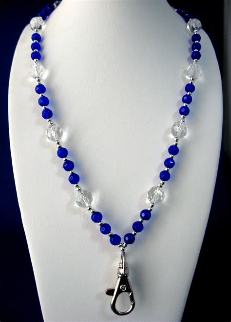 glass bead lanyards cobalt blue and clear glass bead lanyard faceted 40 in