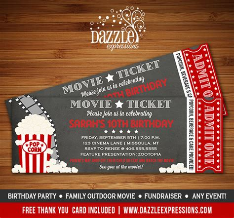 printable movie night tickets printable chalkboard movie ticket birthday invitation