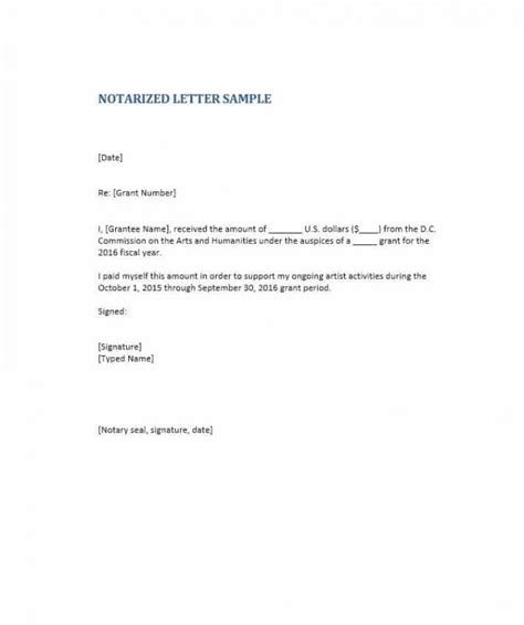 business letter format notary notarized letter format template business