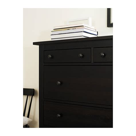 hemnes chest of 6 drawers black brown 108x130 cm