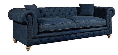 spectra home greenwich tufted blue denim fabric sofa
