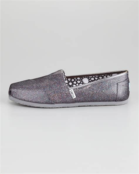 toms glitter slipon in metallic lyst