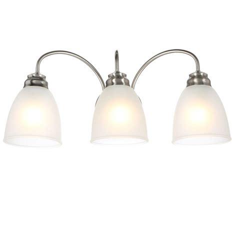 Industrial Vanity Light Commercial Electric 3 Light Brushed Nickel Vanity Light Efg1393al 2 Bn The Home Depot