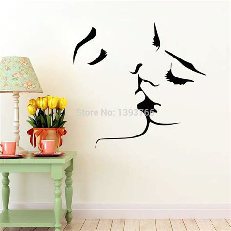 home decoration stickers couple kiss wall stickers home decor 8468 wedding