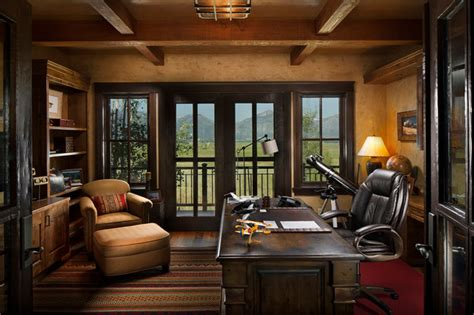 Home Office Ideas Rustic Rocky Mountain Log Homes Timber Frames Rustic Home