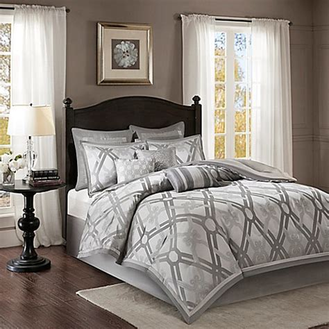 bed bath and beyond kendall madison park kendall comforter set in silver bed bath