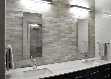 Shady contemporary white and gray bathroom decor brown wall tiles v and chrome finish brushed