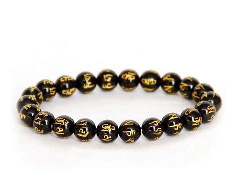 buddhist bracelet tibet buddhist black agate six true word mantra prayer