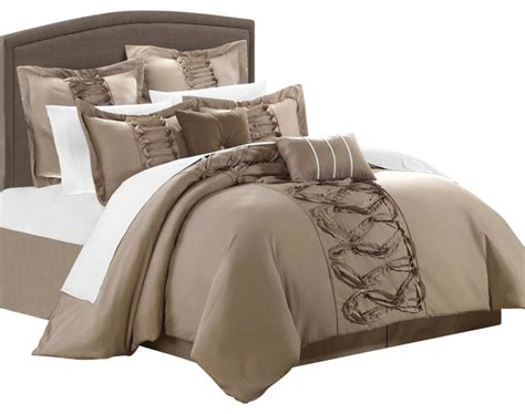 bed in a bag comforter sets on sale ruth ruffled taupe king 8 comforter bed in a bag set