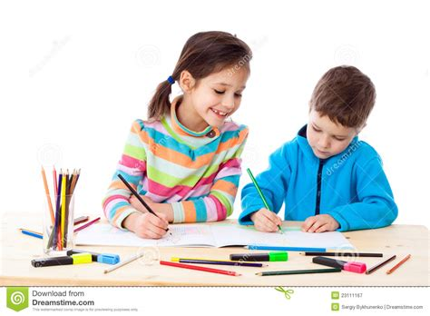 Two Little Kids Draw With Crayons Stock Image Image Of Paper Education 23111167 Children Drawing Picture