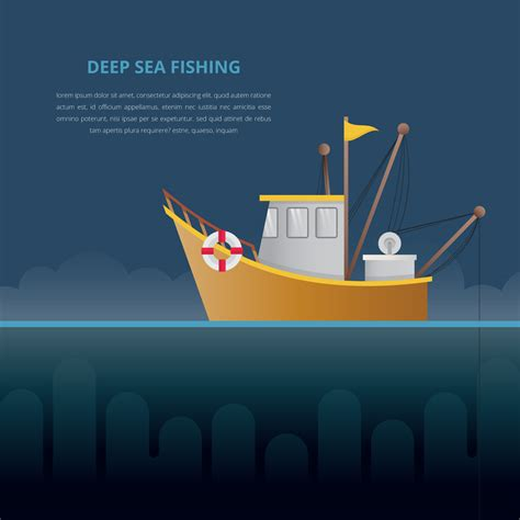 deep sea fishing boat vector deep sea fishing illustration fishing boat download