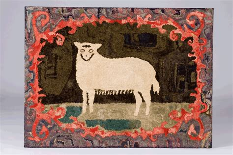 What Is A Hooked Rug hooked rug of a sheep new c 1880 t miller