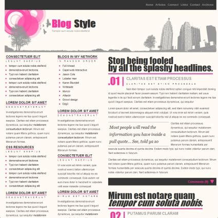 blog style template free website templates in css html