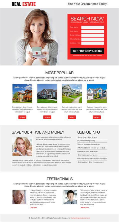 Real Estate Landing Page Design To Promote Your Real Estate Business Lead Generation Page Template