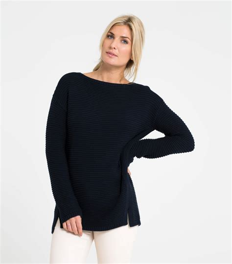 Boat Neck Sweater navy cotton womens cotton textured boat neck sweater