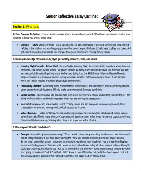 reflective essay template 10 reflective essay exles sles pdf