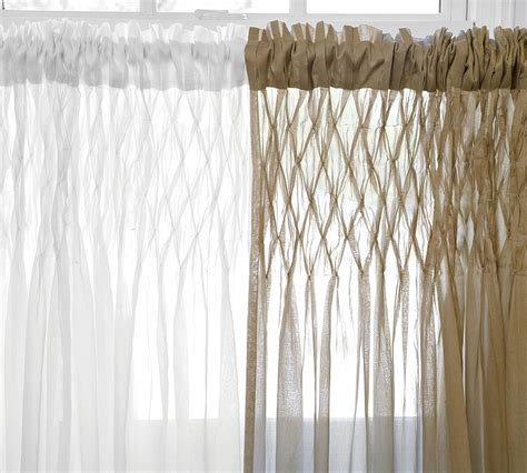 sheer curtains pottery barn pottery barn smocked drapes decor look alikes