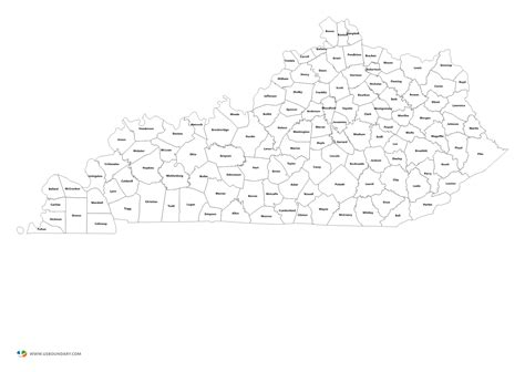 kentucky map county names state counties maps