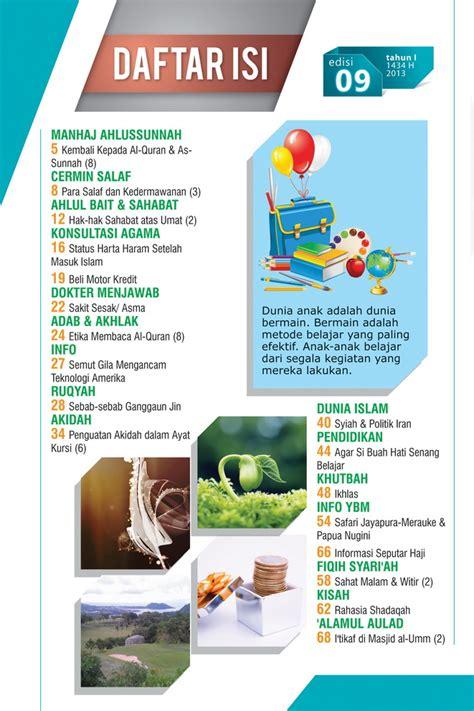 Desain Daftar Isi Majalah | daftar isi majalah al umm 9 ybm