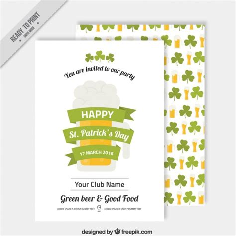 Saint Patrick Day Invitation Template Vector Free Download St S Day Invitation Template