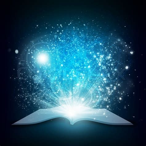 open book with magic light and falling