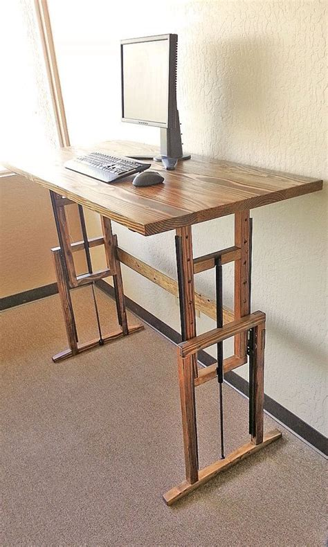 diy adjustable standing desk manually adjustable wooden standing desk flats