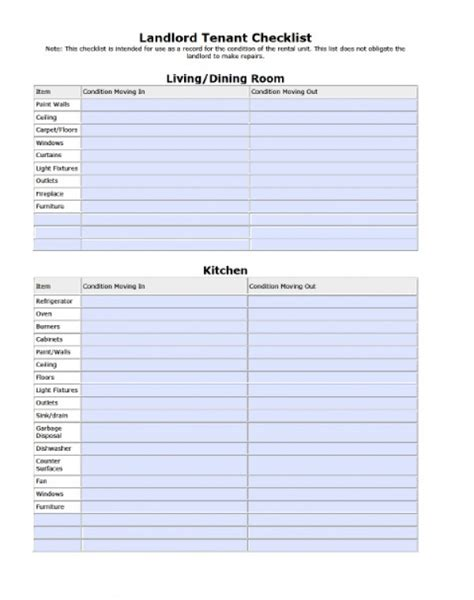 free landlord tenant move in move out checklist pdf