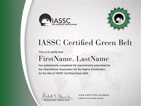 green belt certificate template certifications international association for six sigma