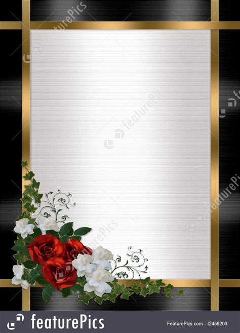 celebration wedding invitation border red roses stock