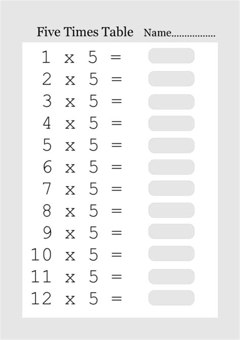 five times table printable times tables from 1 to 12 what answered