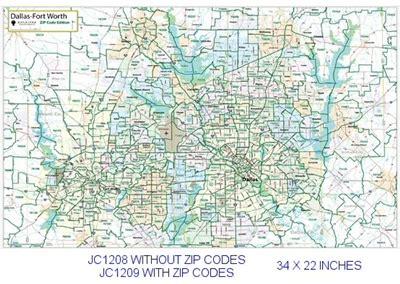 fort worth zip code map dallas fort worth zip codes major thoroughfares 22x34