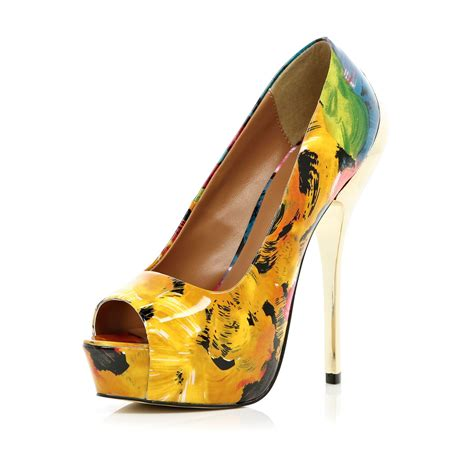 river island yellow abstract print platform shoes in