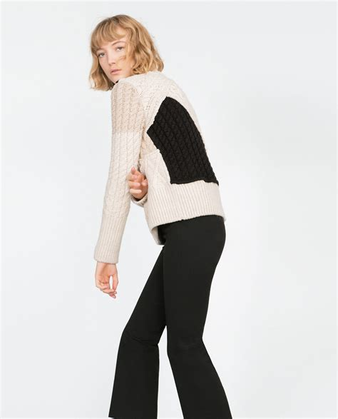 Patchwork Sweaters - zara cable knit patchwork sweater in black lyst