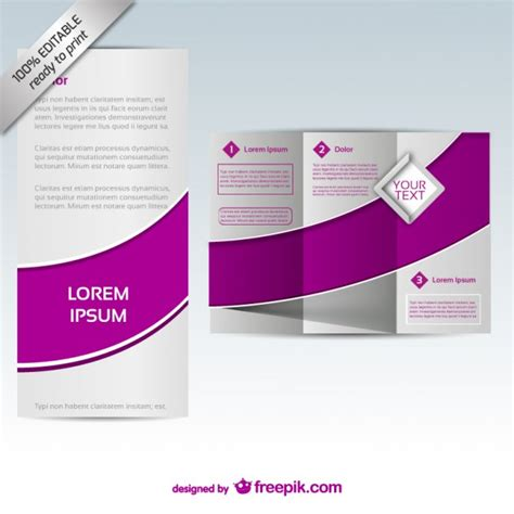 purple tri fold brochure template vector free download