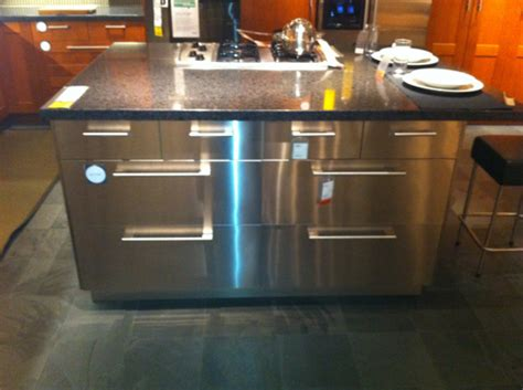 Industrial Look For A Modern Kitchen Island Shown In Stainless Steel