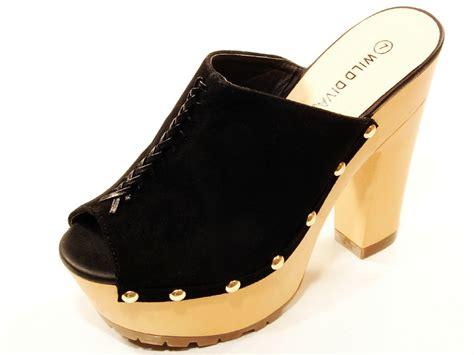 black high heel mules gena black high heel platform slides mules ebay