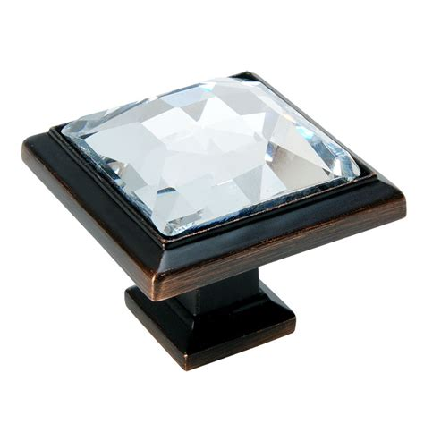 Oil Rubbed Bronze Kitchen Cabinet Hardware by Oil Rubbed Bronze Amp Clear Glass Square Cabinet Knob