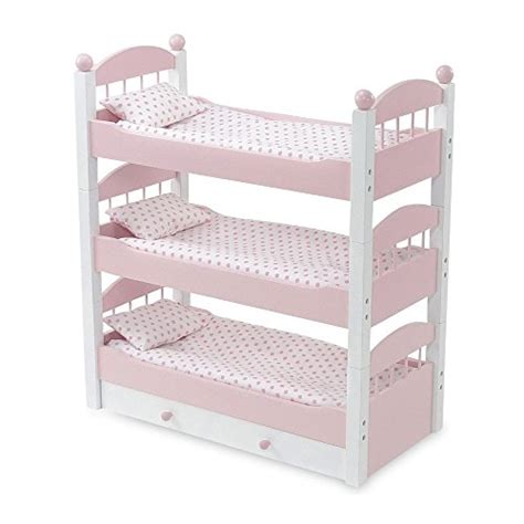 18 Inch Doll Bunk Bed With Trundle Emily Doll Clothes 18 Inch Doll Furniture Lovely Pink And White Stackable Bunk Bed