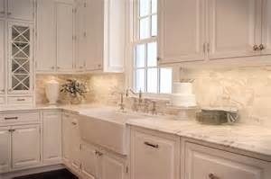 calcutta gold marble subway tile traditional kitchen